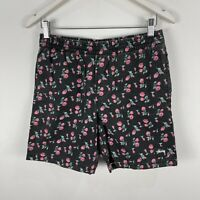 Stussy Mens Shorts 30 Black Floral Elastic Waist Pockets Drawstring
