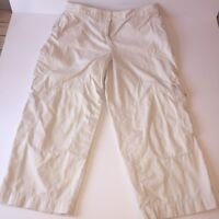 J Jill Women's Capri Pants Cropped Straight Fit Beige Khaki Size 12 Cargo Summer
