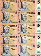 LOT Nigeria, 10 x 5 naira, 2015, P-New, POLYMER, UNC