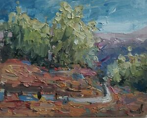 MOUNTAIN TREE LANDSCAPE OIL PAINTING BY ARTIST VIVEK MANDALIA IMPRESSIONISM 10X8