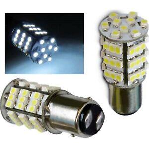 White LED #1157 12 Volt Tail Light Brake Stop Turn Signal Lamp Bulbs Pair 54SMD