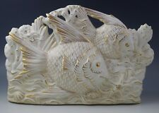 1940's ITALIAN CERAMIC TV LAMP SEALIFE -FISH-MARINE- WHITE AND GOLD LAMP BASE