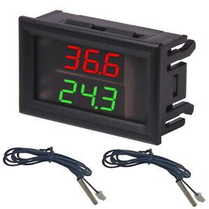 Doppelthermometer W1230 + NTC 10K Sonde Anzeige LED Doppelt Thermometer Sensor