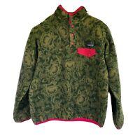 Patagonia Green Floral Pullover Size Medium Fleece Vintage Like (HAS PET HAIR)