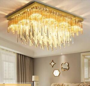 Dining room lamp titanium gold stainless steel villa Dimming LED crystal light