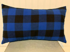 12 x 20 Lumbar Accent Flannel Pillow Cover - Blue and Black Buffalo Plaid
