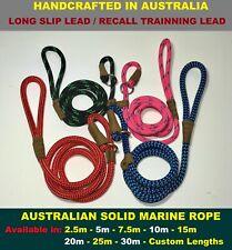 RECALL Trainning Long Dog SLIP Lead Leash Teach Dog 2 Come SOLID ROPE Heavyduty