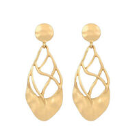 Fashion Womens Gold Plated Leaf Earrings Ear Stud Dangle Drop Statement Jewelry