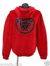 New Versace Leather Medusa Appliqué Red Velvet Sweatshirt Jacket 3XL