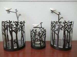 PartyLite, 3 candle tea light holders, Dove in Tree; 2 Lg, 1 sm. black metal