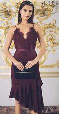 Bnwt🌹Lipsy🌹Size 10 Purple Blackcurrant Lace Asymmetric Flippy Hem Cami Dress