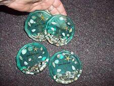 vintage Surf City N.C. plastic resin coasters shells and starfish inside AQUA 4