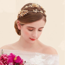 Wedding Bridal Princess Gold Plated Flower Leaf Crown Hair Band Headband Jewelry