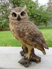 SCREECH OWL FIGURINE TREE STUMP HOOTER STATUE WISE OLD ORNAMENT BIRD NEW