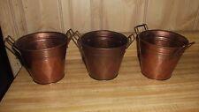 Hosley bronze color buckets, garden or home decor, set of 3, flower, herb, plant