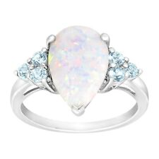 Created Opal & Natural Sky Blue Topaz Ring in Sterling Silver
