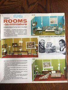 Vintage Mid Century Dollhouse Miniature Miner's Rooms-in-miniature LIVING ROOM