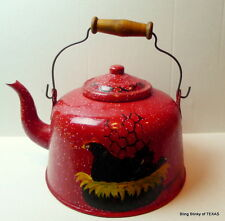 Graniteware red tea kettle antique
