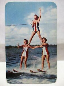 """1960 CYPRESS GARDENS POSTCARD """" SKIING IS FUN IN THE FLORIDA SUN """" GIRL SKIERS"""
