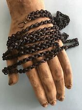 """Rare Antique Victorian Braided Woven Hair Mourning Muff Link Chain Necklace 56"""""""