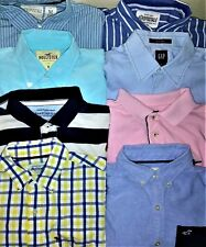 Men's ABERCROMBIE & FITCH/HOLLISTER/GAP LOT OF 8 Size M Button Front LS Shirts