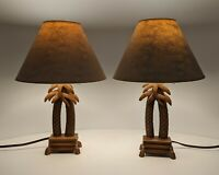 Pair - set of 2 Double Palm Tree Table Lamp Shade Hampton Bay  H 15 1/2""