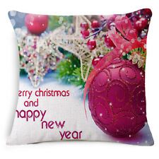Christmas Linen Square Throw Flax Pillow Case Decorative Cushion Pillow Case