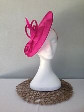 Ladies Pink Sinamay Feather Headband Fascinator Wedding Races