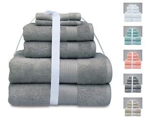 Premium Quality 6 Pcs Bale Towel Set 100% Combed Cotton Bath Hand Face 600 GSM
