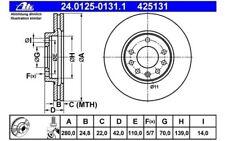 ATE Juego de 2 discos freno Antes 280mm ventilado para OPEL ASTRA 24.0125-0131.1