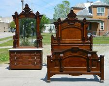 Walnut Victorian Bedroom Set Bed Full Size Dresser Circa 1865