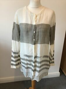Size 44 Nitya Cotton Striped Blouse Cover Up