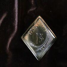 Vintage Boyd Art Glass Diamond Logo Paperweight Sign Gray Brown Slag Glass