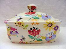 """Owls """"hoot"""" design butterdish by Heron Cross Pottery"""