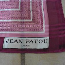 """Vintage Jean Patou 100% Silk Scarf, Paisley, Pink & White, 34"""" sq., Italy, EUC!"""
