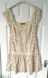 DOROTHY PERKINS Multi Ditsy Floral V Neck Sleeveless Smock Dress Size UK 10