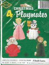 Beistle Christmas Playmates Package of 4 Vintage Holiday Paper Decorations 1980