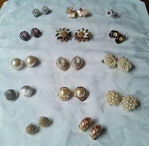 Vintage Earrings Lot,14 Pairs, Monet, Napier, Crown Trifari, Trifari, Liz...