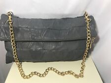 ASOS Gray Patchwork Leather Foldover Top Zip Shoulder Bag With Gold Chain