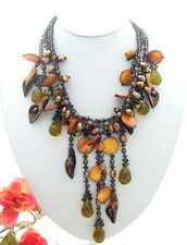 Stunning! Pearl&Crystal&She ll&Tiger's Eye Necklace