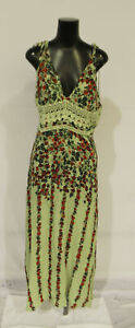 Free People Women's Claire Printed Maxi Dress CD4 Green Floral Large