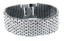 "Stainless Steel 11 Row Textured & Polished Bracelet, 8.25"" L, 7/8"" Wide"