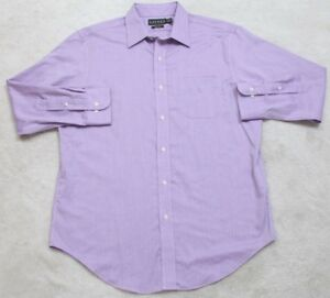 Ralph Lauren Non Iron Purple Dress Shirt Large 16 32/33 Long Sleeve Cotton 1-30