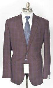 NWT JACK VICTOR Burgundy Wool Windowpane Notch Lapel Sport Coat 42 L (EU 52)