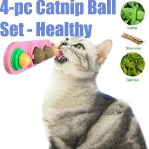 4pcs Catnip Ball Set Cat Natural Snacks Licking Nutrition Energy Ball Toy New