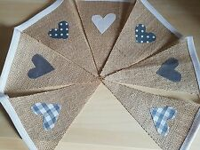 HANDMADE VINTAGE STYLE BUNTING - HESSIAN WITH GREY & WHITE MIX HEARTS -