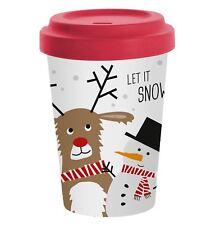 Eco Bamboo Travel Mug Snow Friends Christmas Design by PPD
