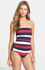 NWT $147 12 TOMMY BAHAMA Women's Rugby Stripe 1 Piece Bandeau Shirred Swimsuit