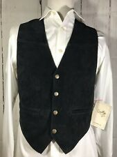 Scully Men's Small Snap Vest Western Cowboy Black Leather Suede