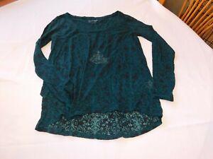 Jessica Simpson Women's Junior's blouse t shirt top s small Green Black Sheer